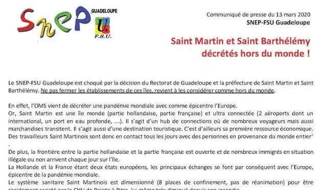 CP SNEP-FSU Guadeloupe : Saint Martin et Saint Bartélémy décrétés hors du monde