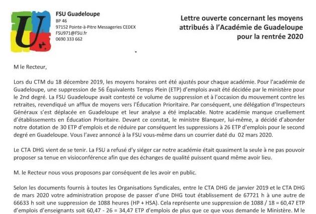 Lettre ouverte de la FSU Guadeloupe concernant les moyens attribués à l'académie de Guadeloupe