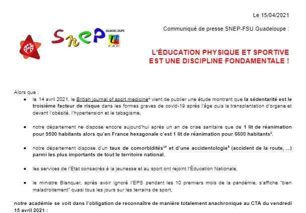 CP SNEP-FSU Guadeloupe : L'Education Physique et Sportive est une discipline fondamentale !