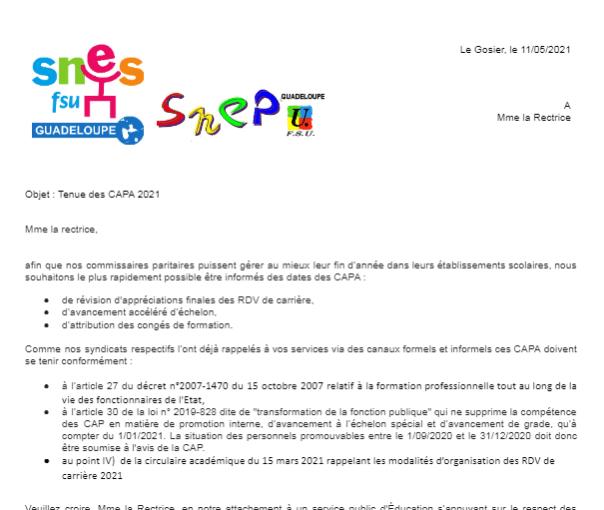 Courrier SNES et SNEP-FSU à Mme la Rectrice,  Tenue des CAPA 2021