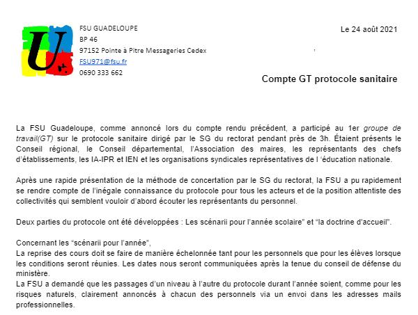 Compte rendu  N°1 GT protocole sanitaire du 24 aout 2021