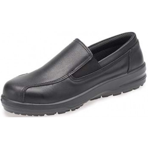kitchen shoes womens inexpensive decor catering safety abs133pr black ladies with steel toe cap slip on shoe