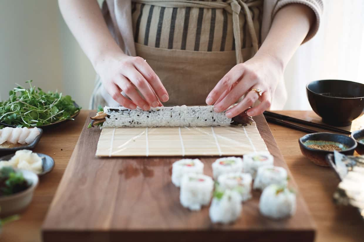 kitchen cabinet on wheels painted gray cabinets diy sushi at home with a how-to video - snixy