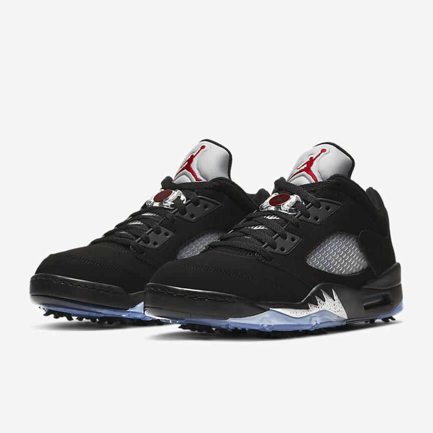 Black/Metallic Air Jordan V Low with translucent blue bottom.