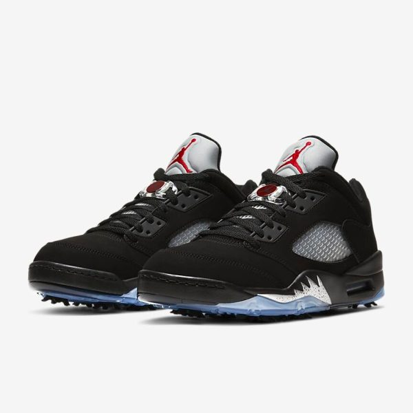 Black/Metallic Air Jordan V Low with translucent blue bottom.