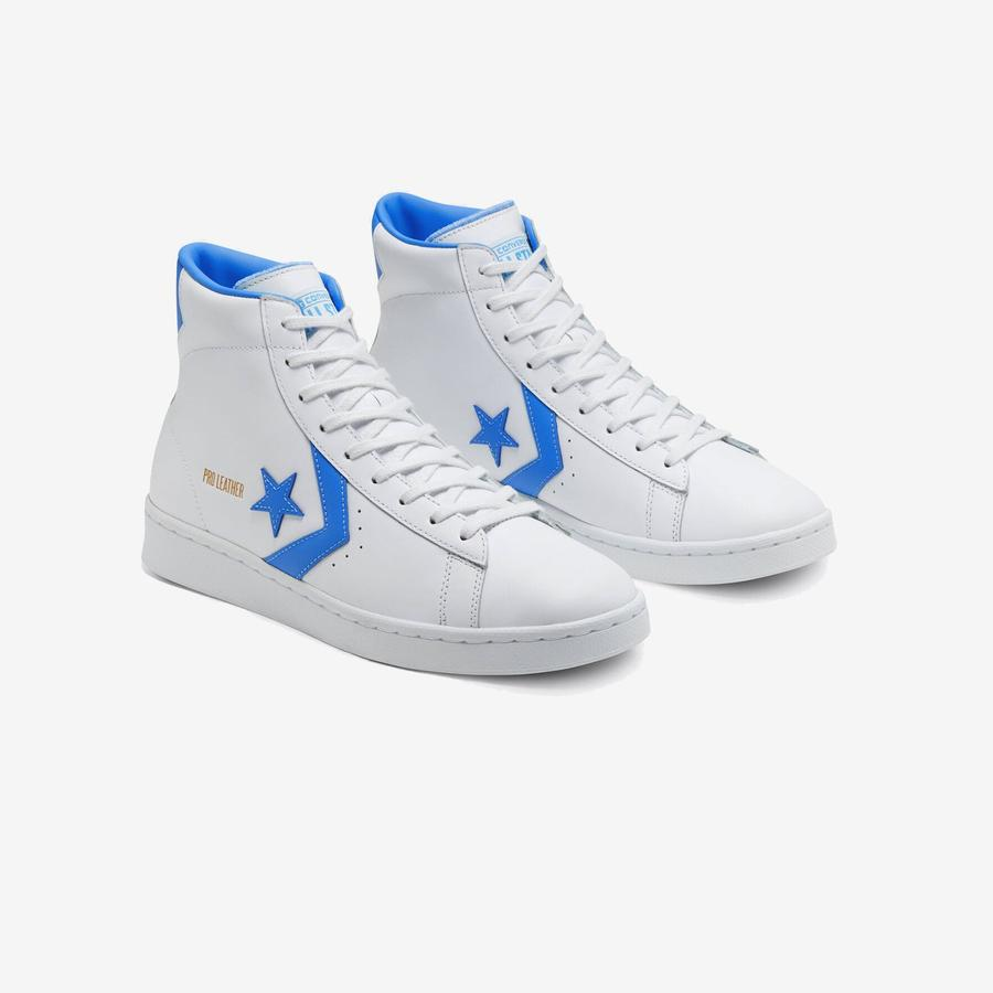 Converse Pro Leather Hi - White/Light Blue
