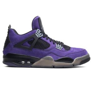 Travis Scott x Air Jordan 4 Retro 'Purple Suede - Black Midsole' with a red Cactus Jack logo