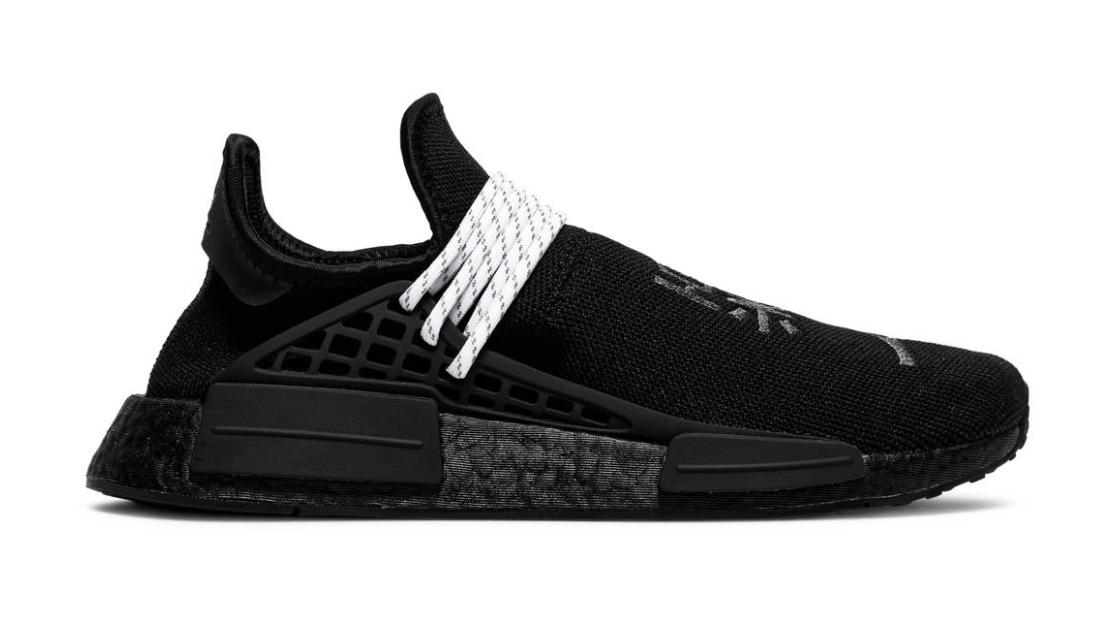 The Pharrell x NMD Human Race 'Black' with adidas Primeknit textile upper