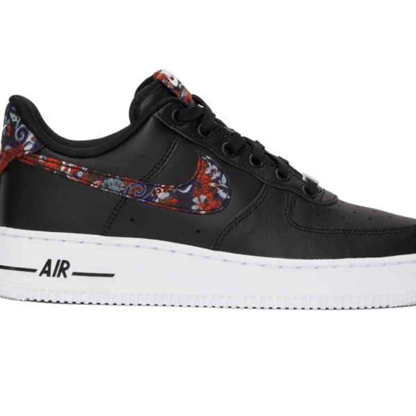 Nike Black Floral Air Force 1 '07 in Black/Multicolor/White with a rubber sole.