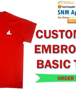 BASIC SOLID COLOR EMBROIDERED T SHIRT