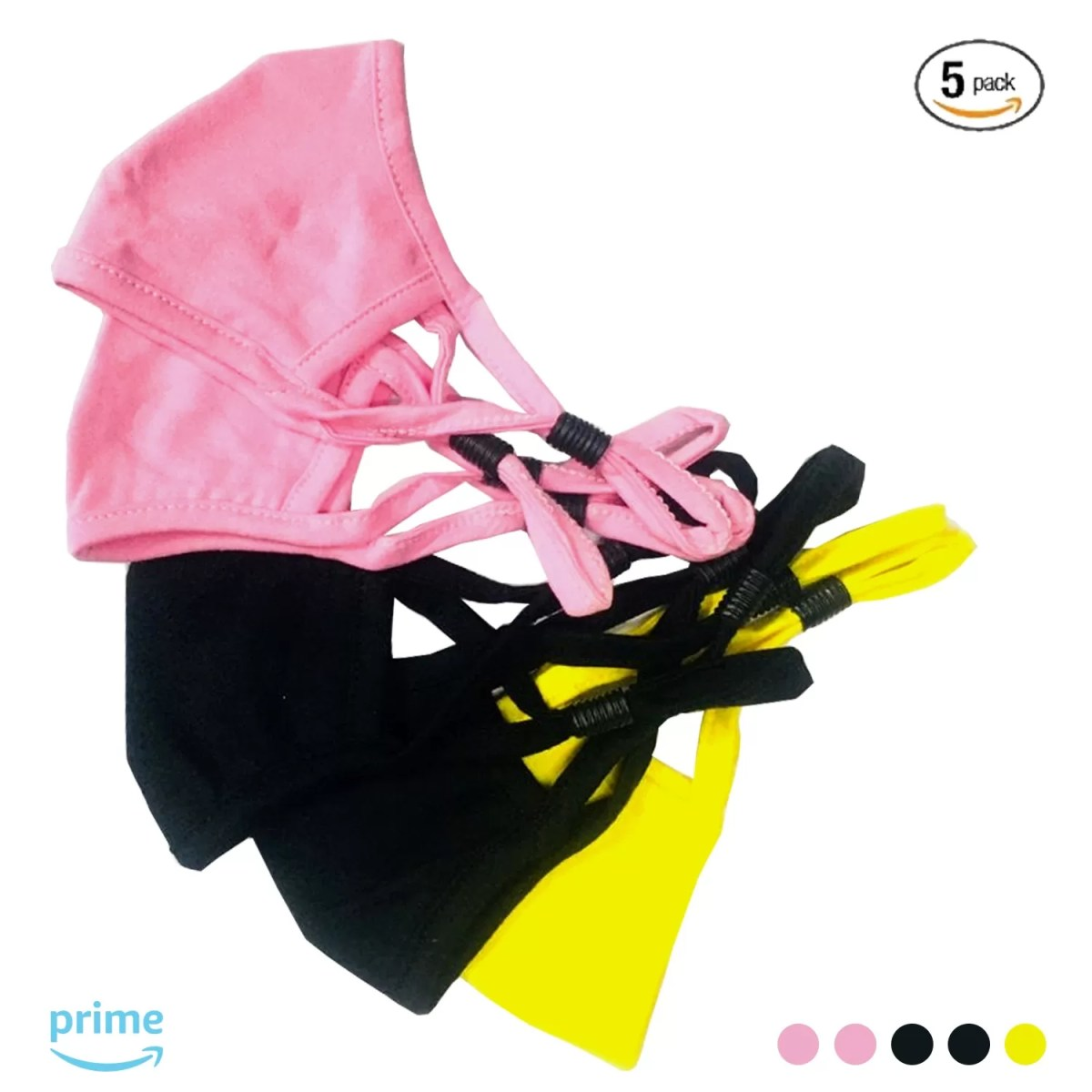 KIDS Cloth Adjustable Face Mask   Adjustable Stopper   Multi Coloured Pack of 6