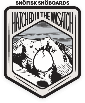 Snöfisk Snowboards are hatched in the Wasatch. Illustration of the American Fork Twin Peaks in the Wasatch Range
