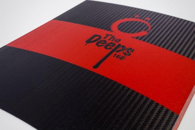 Closeup of The Deeps full carbon fiber layup