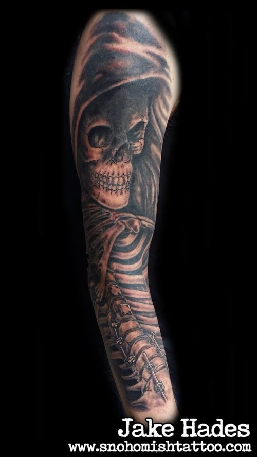 Half sleeve reaper tattoo