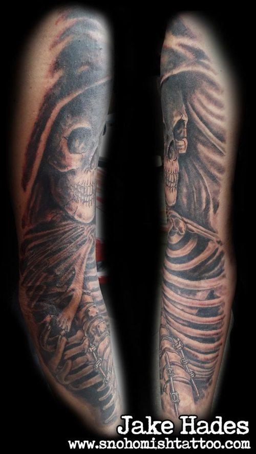 Half sleeve reaper tattoo detial