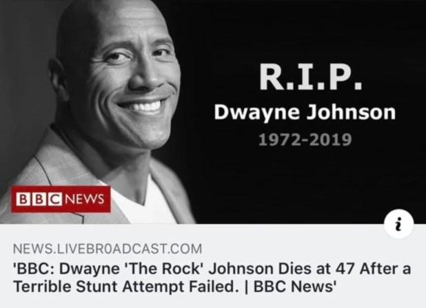 The Rock Dwayne Johnson death a hoax