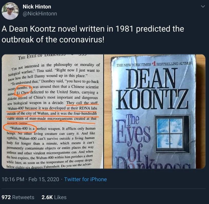 Was Coronavirus Predicted in a 1981 Dean Koontz Novel?