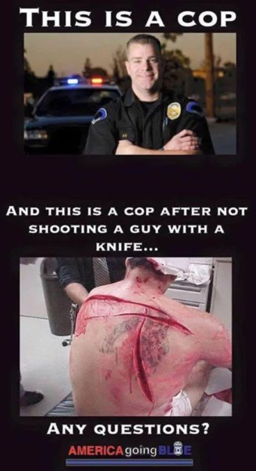 Does This Photo Show a 'Cop After Not Shooting a Guy with a Knife'?