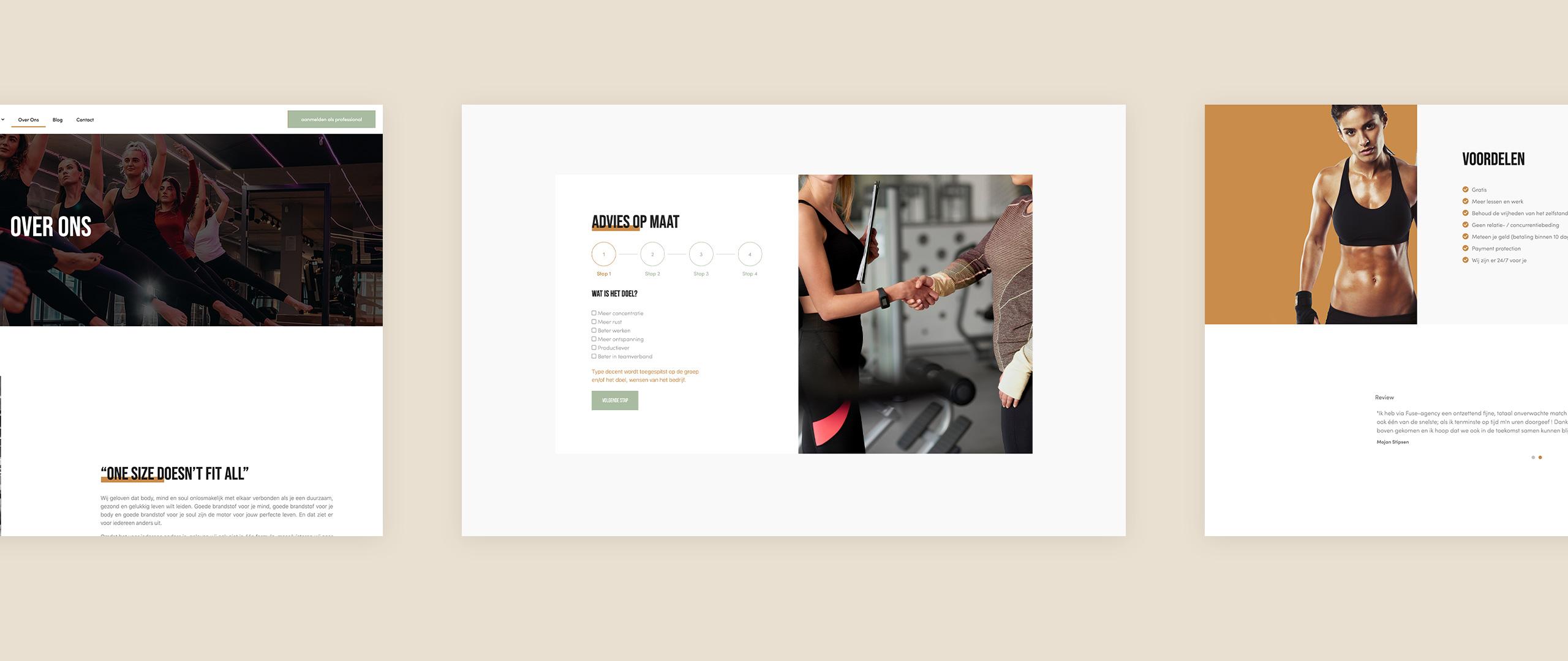 Fuse website screens