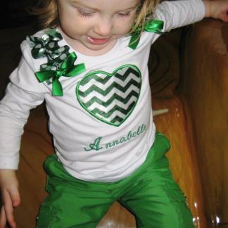 Long Sleeve Green Chevron Heart Shirt