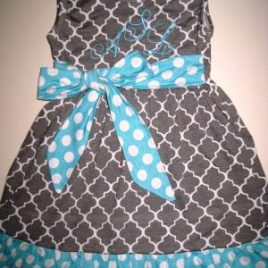 Grey & Blue Quatrefoil Dress