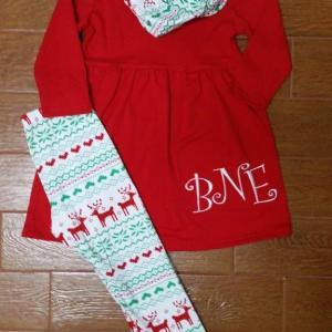 Red Reindeer Aztec Pant Set