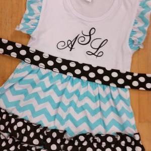 Teal, Black & White Polka Dot Tunic Dress