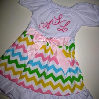 White & Pink Chevron Dress