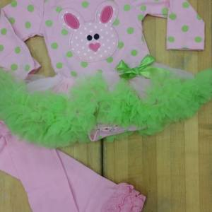 Pink & Lime Green Polka Dot Bunny Tutu Set