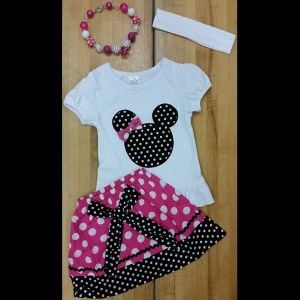 White & Hot Pink Minnie Skirt Set