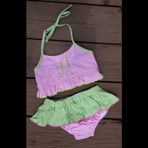 Pink Green Swimsuit