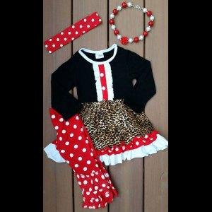 Black & Red Leopard Dress & Pant Set