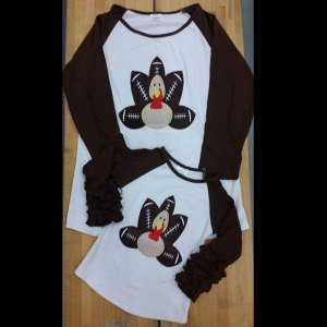Adult Unisex Matching Brown & White Turkey Football Shirts