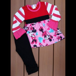 Valentines or Anytime - Red, Hot-Pink & Black Mouse Legging Set