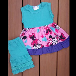 Teal, Pink & Purple Mouse Shorts Set