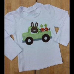 Boys White Raglan Bunny Carrot Shirt