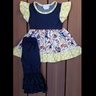 Denim & Yellow Polka Dot Beauty Dress & Capri Set