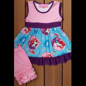 Pink, Purple & Aqua Mermaid Dress & Shorts Set