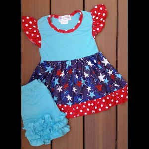 Aqua Stars Dress & Shorts Set