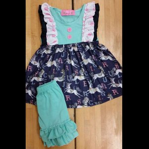 Teal Alphabet Carousel Dress & Shorts Set