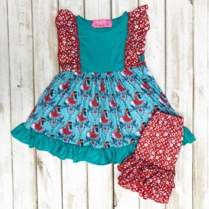 Teal & Red Princess of Avalon Shorts Set