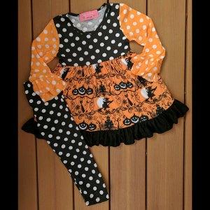 Black & Orange Polka-Dot Halloween or Anytime Dress & Legging Set