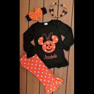 Black & Orange Haunted Mouse Pants Set