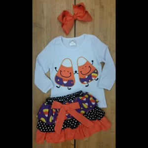 Purple Candy Corn Skirt Set