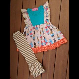 Teal & Tan Feather Dress & Pant Set