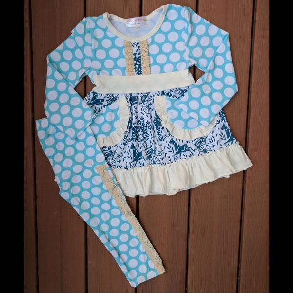 Light Blue Polka Dot Dress & Leggings Set