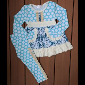 Light Blue Polka Dot Dress & Leggings Set