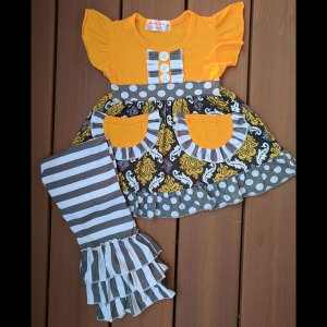 Short Sleeve Gold & Grey Pocket Dress & Triple Ruffle Pants Set
