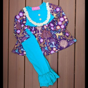 Teal & Purple Deer Dress and Pants Set