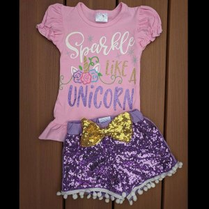 Pink & Purple Sparkle Like A Unicorn Shorts Set